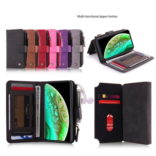 Multi-Purpose Zipper Phone Holster Wallet Case for iPhone 7 8 Plus X XR XS MAX Removeable Magnet Back Cover with 11 Card Slots 2 Purses