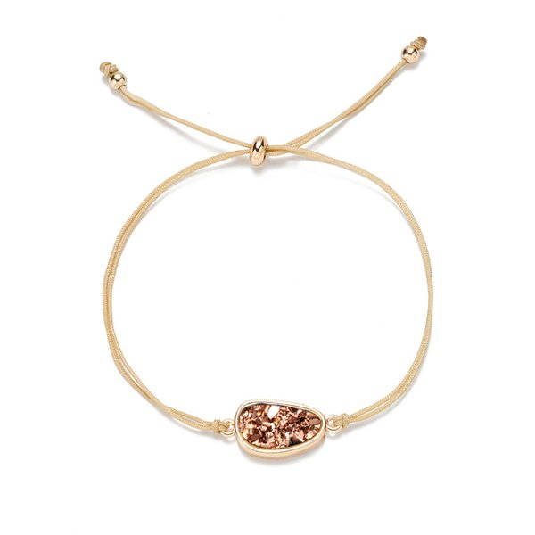 Fashion Handmade Irregular Druzy Bracelet Women Natural Stone Rope Bracelet Femme Summer String Jewelry