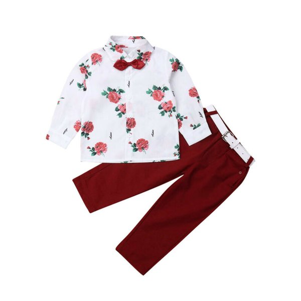 FOCUSNORM Toddler Baby Boy Clothes Primavera Autunno 2 pezzi Gentleman formale Abito Camicia floreale + Pantaloni lunghi Adorable Outfit Set 2-7Years