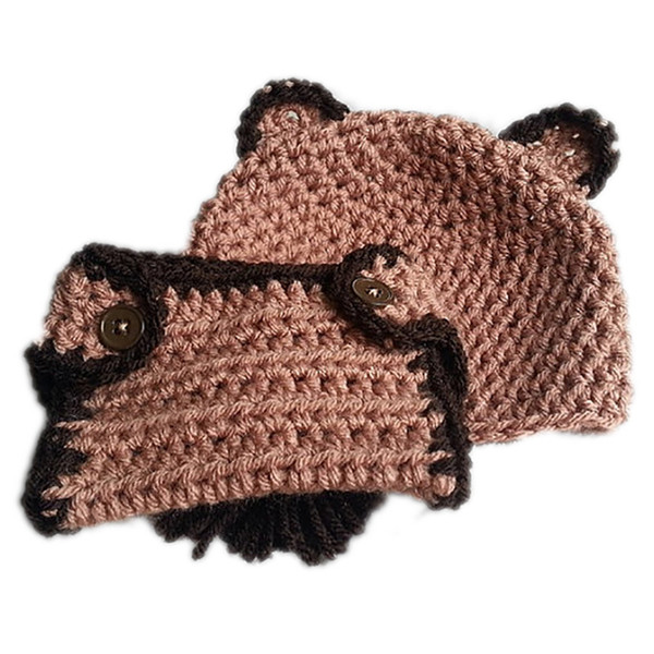 Adorable Crochet Baby Bear Outfits,Handmade Knit Baby Boy Girl Bear Hat with Ears,Diaper Cover Set,Infant Newborn Photo Prop