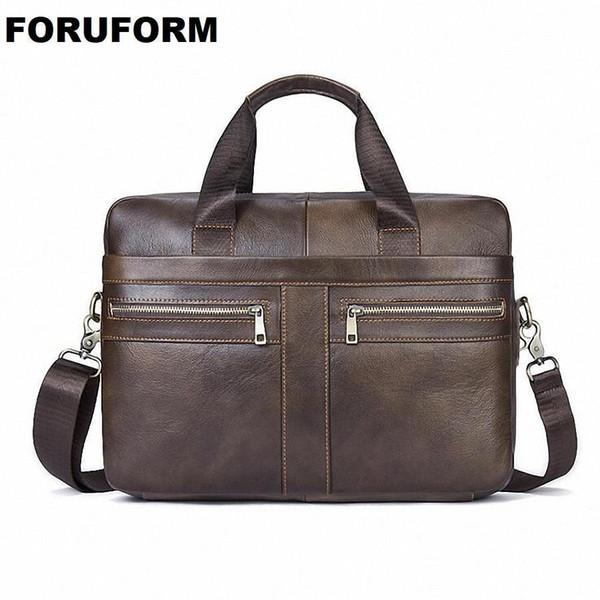 """Nice 100% Genuine Leather Briefcases 15"""" Laptop Handbag Mens Business Crossbody Bag Messenger/Shoulder Bags For Men MaleLI-2117"""