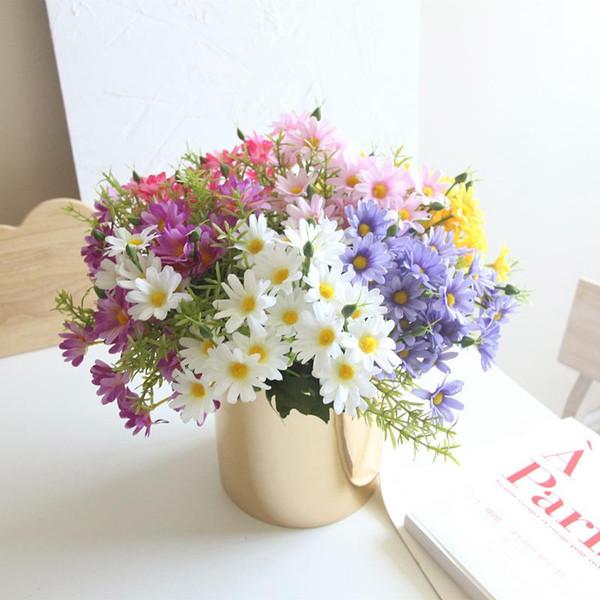 One Bouquet 6 branch 30 heads cute silk daisy artificial decorative flower wedding flower bouquet home room table decoration