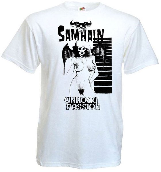 Samhain Unholy Paixão T camisa cartaz branco horror banda punk todos os tamanhos S-5XL jersey Imprimir t-shirt Da Marca camisas jeans imprimir