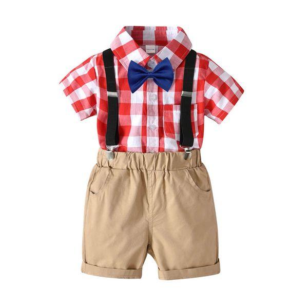 Kinder Designer Kleidung Jungen Sommer Kurzarmhemd + Hosenträgerhose Shorts 2ps Jungen Kleidung Sets Kinder Outfits Kinder Kleidung A2582