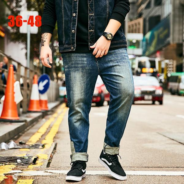 Large Size Blue Jeans Men 36-48 Patchwork Big size Men denim jeans Pants Casual Plus Straight Jean for 80kg-140kg mens