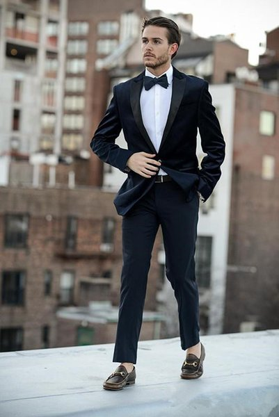 Two Pieces Dark Navy Wedding Tuxedos Slim Fit Peaked Lapel Mens Prom Suit Cheap One Button Groomsmen Suits(Jacket+Pants)