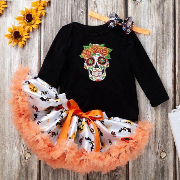 Nouveau style enfants Halloween vêtements crâne haut à manches longues et jupe tutu avec robe de soirée bandeau en gros