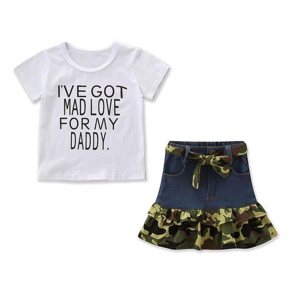 New Fashion girls suits kids designer clothes girls outfits Summer t shirt+skirt 2pcs kids sets little girls clothing kids clothes A6296