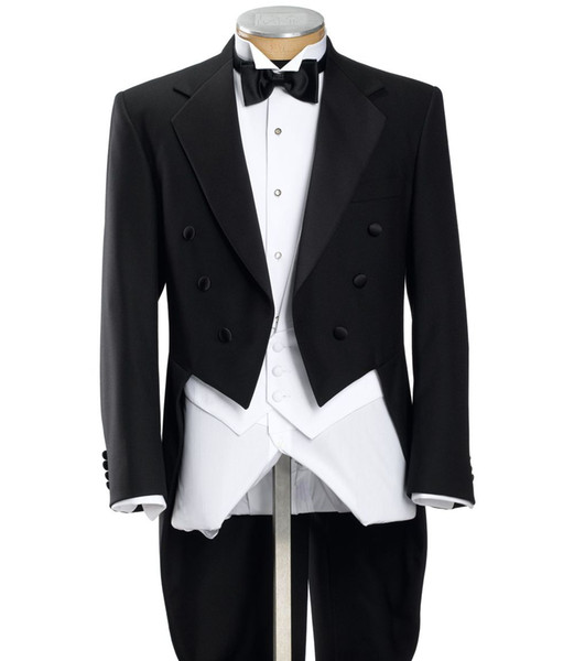 Tailcoat/Morning Style Groom Tuxedos Groomsmen Notch Lapel Best Man Suit Wedding/Men Suits Bridegroom ( Jacket+Pants+Vest+Tie ) A570