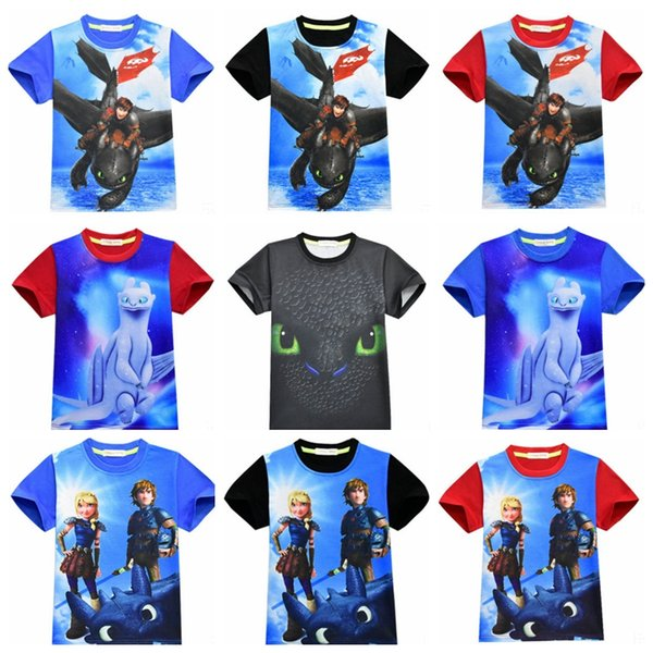 Kids Boy Clothes How to Train Your Dragon Boys Shirts Children T Shirt Short Sleeve Baby Tees Summer Kids Clothing 9 Design YW2687