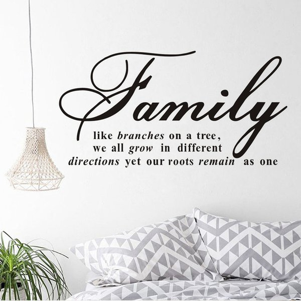 1 Pcs Family Like Branches On A Tree Quotes Wall Decal Baby Nursery Decor Vinyl Mural DIY Wall Sticker For Kids Room Bedroom Wall Art