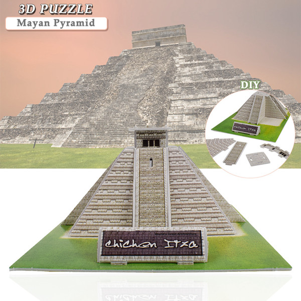 best selling Mayan Pyramid Building 3D Puzzles Toys for Children to DIY Assembly Cardboard Model Educational Toys Desktop Home Decoration