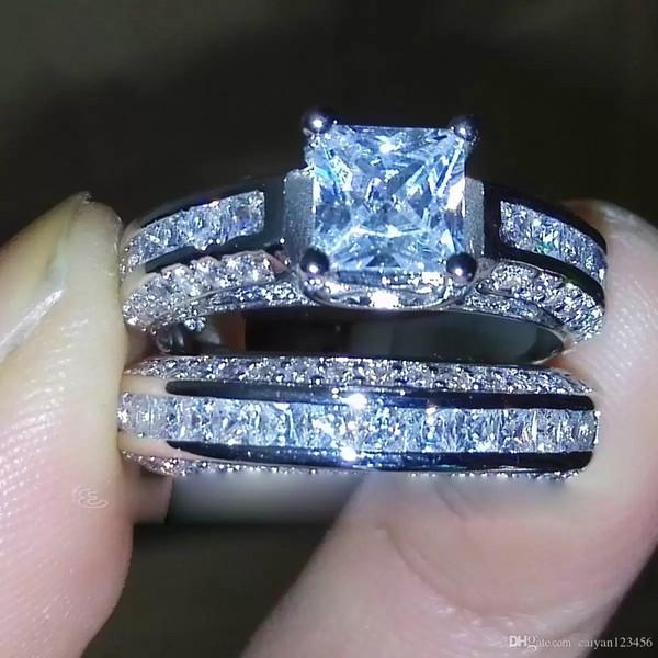 Verlobungs-Retro- Luxusring weiße Zirkonia 925 Silber überzogen Hochzeit simulieren Diamant Runde Geschenkgröße: US 6/7/8/9/10