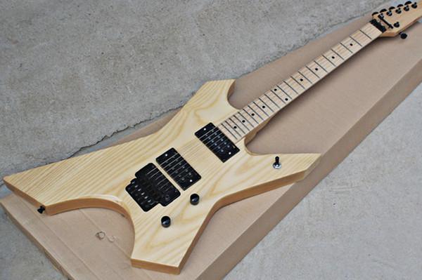 Guitare électrique en bois naturel avec corps en frêne