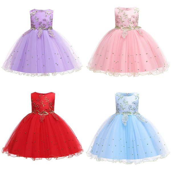 Kids Girl Princess Dresses Ruffle Gauze Embroidered Bow Perform Dress Kids Designer Clothes Girls Baby Girl Dresses 3-12T 07