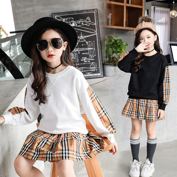 2019 2019 New Fashion Big Girls Long Sleeve Sweatshirt Coat Spring Cotton  Children T Shirt Clothes Casual Hoodies Skirts Suits Kids Clothing Sets  From