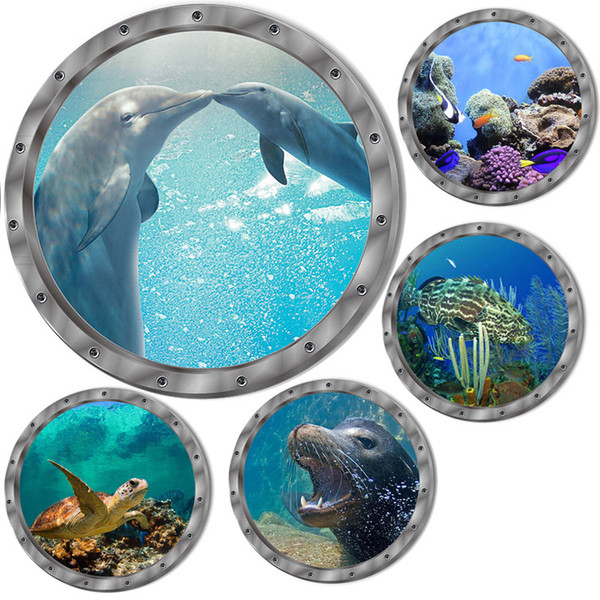 Wall Paper 5 Styles Underwater Fish Wall Stickers Waterproof Dolphin Turtle Sticker for Washing Machine Decoration for Bathroom Decals PVC