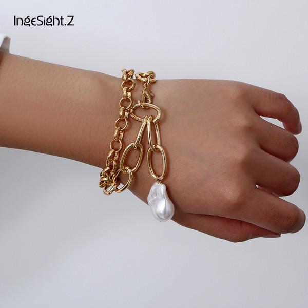 IngeSight.Z 2Pcs / Lot Punk Chunky épais Curb cubains Bracelet Charm Bracelets perles imitation Pendentif pour femmes Bijoux cadeau