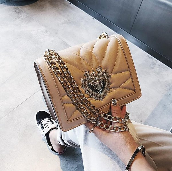 Factory wholes selling women bag classic embroidered line leather handbag fashionable love water drill chain bag fashionable inlaid shoulder