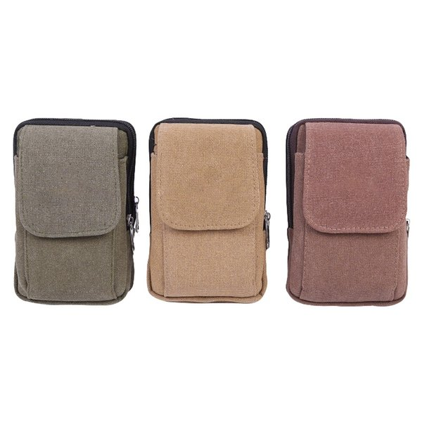 Men Retro Multifunctional Belt Bag Wallet Cell Phone Mobile Phone Belt Pouch Zipper Wear Resistant Waist Bag Case Pouch