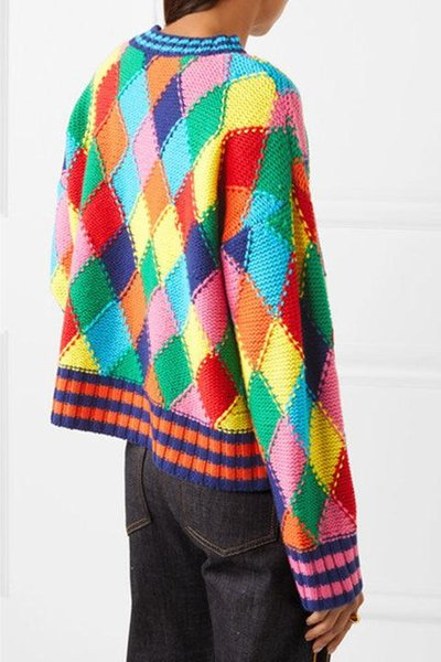 Fashion-End Colorful Rhombus Long Sleeves Pullover Women Brand Same Style Jacquard Knitting Women's Sweaters 102307