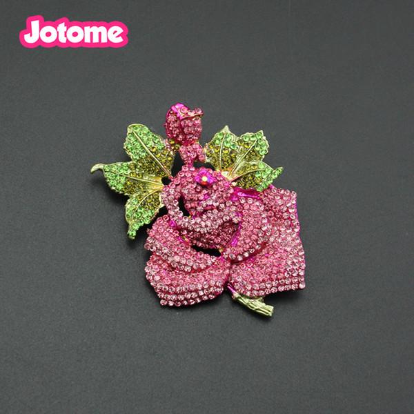 Heißer verkauf gold plattiert kupfer metall Luxus rosa strass rose blume geformt anstecknadel brosche Exquisite mode zirkon brosche