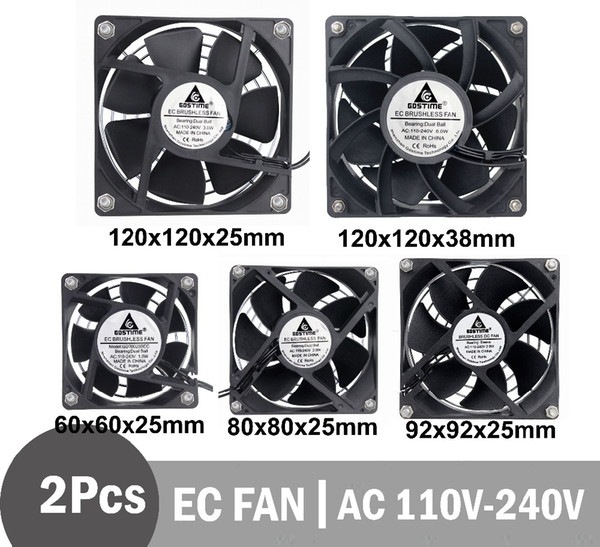 Ventilatori di raffreddamento 2pcs GDSTIME EC Fan Brushless Ventilatore assiale 60 80 90mm 120mm PC Cooler AC 110 115 120V 220V