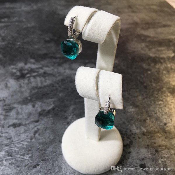 2018 Top brass material paris design earring with nature jade and zircon decorate stamp logo charm stud earring with diamonds platinum plate