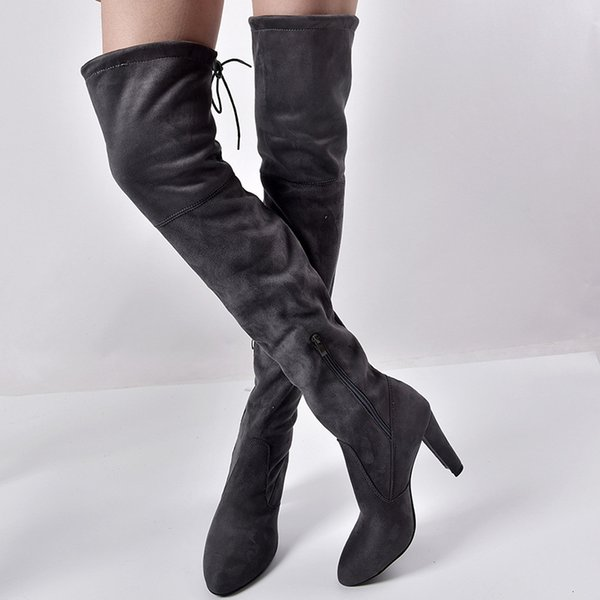 Size 35-43 Winter Over The Knee Boots Women Stretch Fabric Women Thigh High Sexy Lace Up Woman Flat Shoes Long Bota Feminina