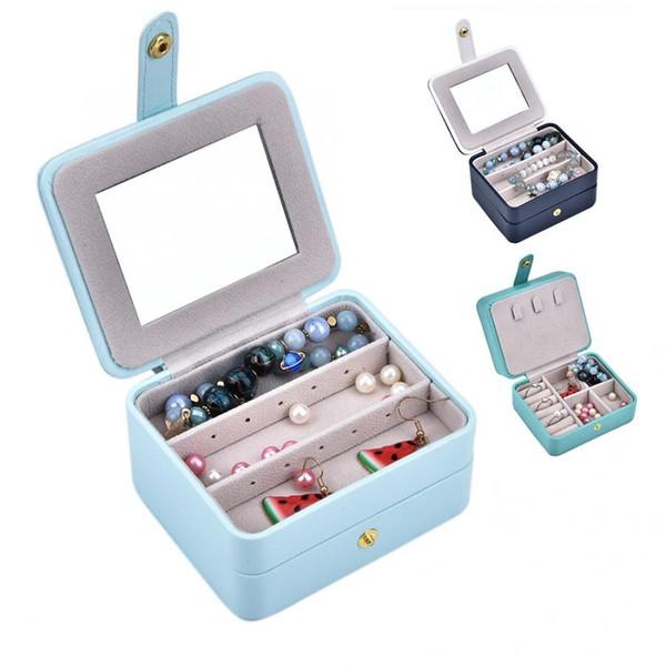 Pendientes Joyero Organizador Caja de almacenamiento de exhibición Cuero de PU con espejo Delicado Soporte de reloj de alta calidad para almacenamiento de relojes