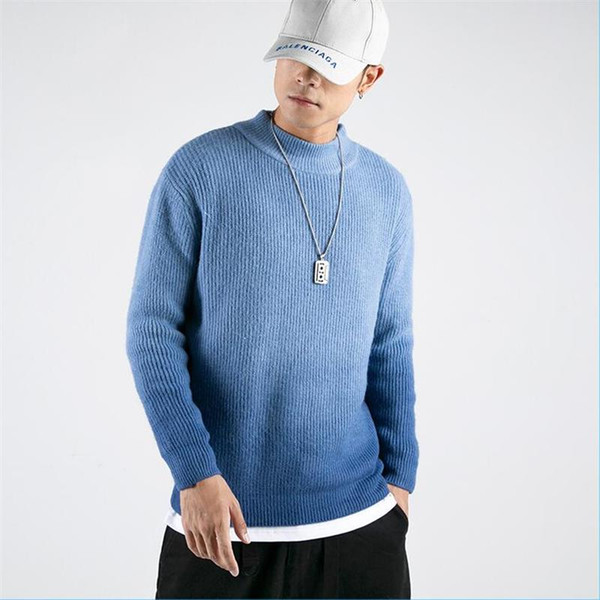 autumn winter new semi-turtleneck japanese knit men's sweaters casual streetwear hip hop homme pullovers - from $38.59