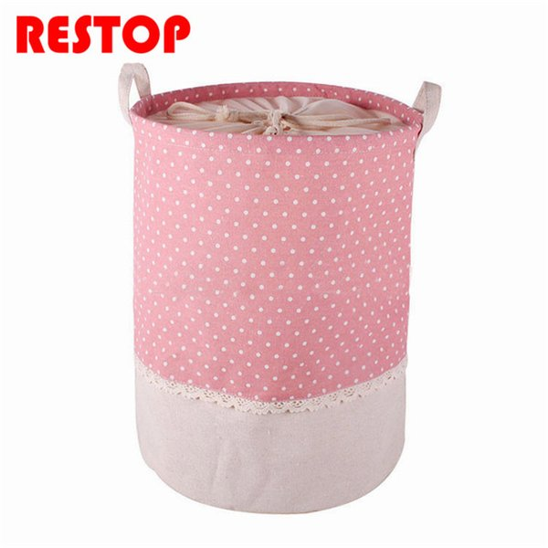 35x45cm Colorful Dot Laundry Bag With Cover Cotton Washing Laundry Basket Dirty Clothing Bags Toy Storage Bag RES178