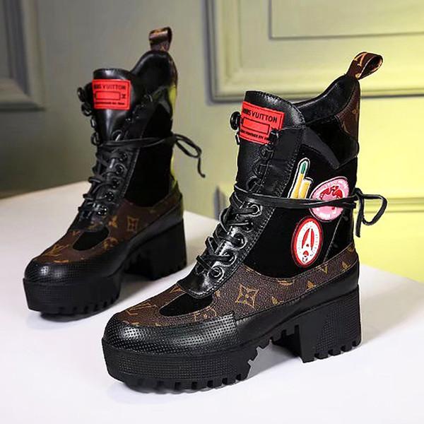 Nuevos cargadores de las señoras de apartamentos de lujo de cuero de tacón alto botas de Martin solo tubo hembra estilo británico de espesor con botas de tacón WG