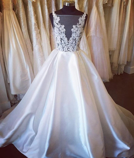 2020 Sexy See Through Top A line Wedding Dresses Jewel Sheer Neck Applique Court Train Cheap Wedding Reception Dress Bridal Gowns New