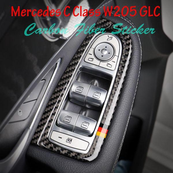 For Mercedes C Class W205 GLC C180 C200 Car Styling Carbon Fiber Car Window Switch Panel Interior Trim Emblem Sticker Decal