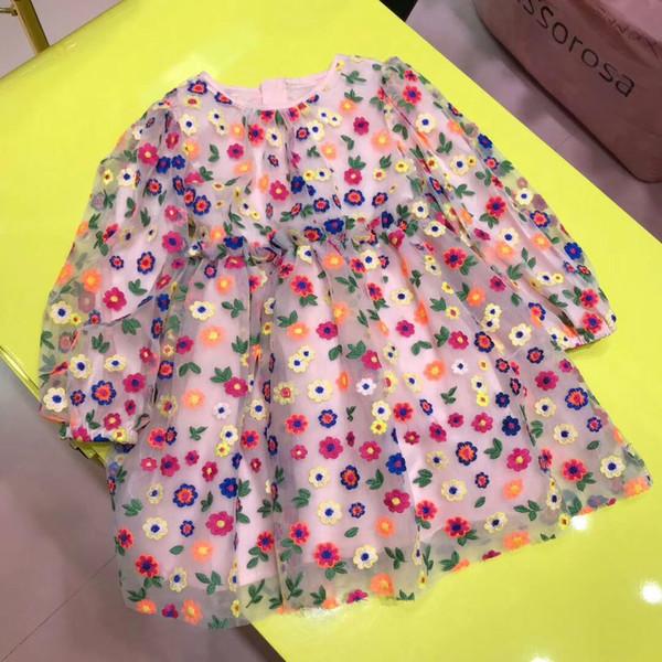 Vestido de princesa para niñas, fiesta, ropa para niñas, vestido de manga larga con bordado para niños, vestidos de encaje rosa para niñas, tops para niñas