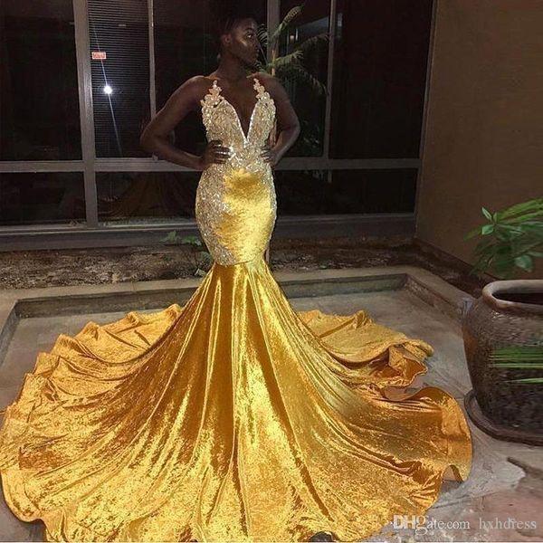 2019 Novo Veludo Amarelo Longo Sereia Vestidos de Baile Preto Das Meninas Halter Lace Apliques Sem Encosto Sweep Train Vestidos de Noite