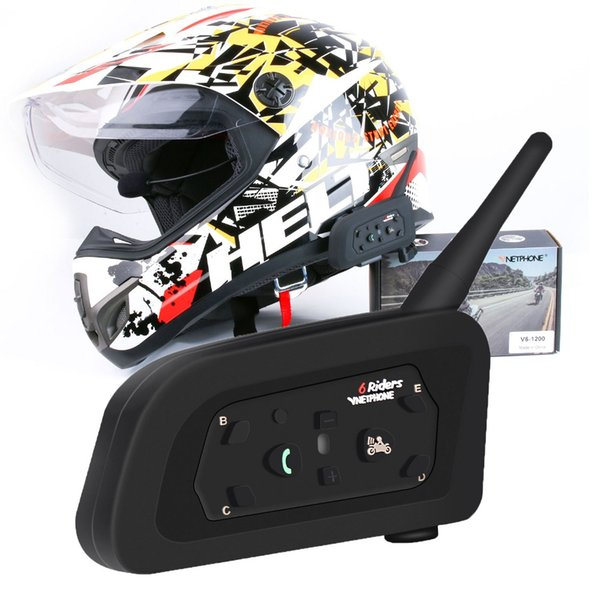 Multi Motorrad Intercom Intercomunicador V6 Walkie Talkie Lautsprecher Bluetooth Headset für 6 Fahrer 1200 Meter Helm Interphone