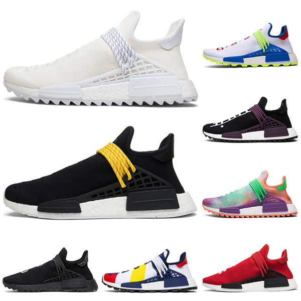 36-45 human race hu trail pharrell williams men running shoes cream nerd black white bbc mens trainer women designer sports runner sneakers