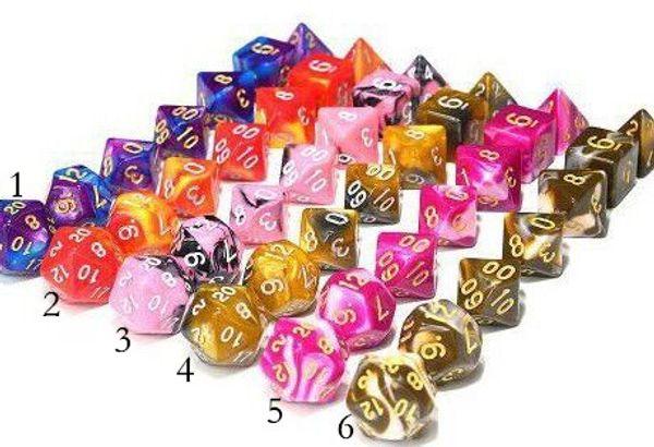 Neueste 7 stücke Set Polyhedral TRPG Spiele Für Dungeons Dragons Opaque Multi Seiten Doppel farbe Würfel Pop für Spiel Gaming