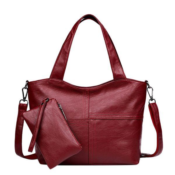 2Pcs Conjunto de bolsos de mujer Patrón de señoras Bolso de moda de color puro + Carteras Bolso de hombro Mujer bolsa feminina bolsos