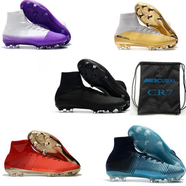 zapatos de separación bc889 8b3e8 Compre Zapatillas De Deporte Para Hombre Originales Zapatillas De Fútbol En  Oro Blanco CR7 Zapatillas De Fútbol Mercurial Superfly FG Zapatos De ...