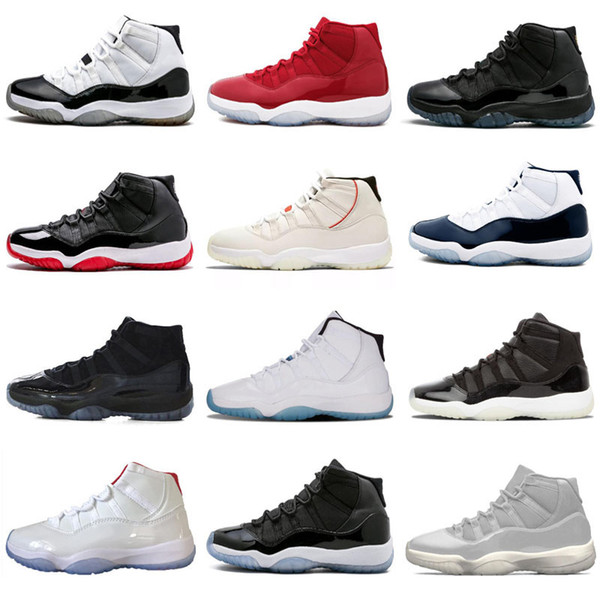 2018 neue Ankunft 11 Prom Night Basketball-Schuh-WIN LIKE 82 96 Mitternachts Navy UNC Gym Red 11s Concord Bred Trainer Sportturnschuhe