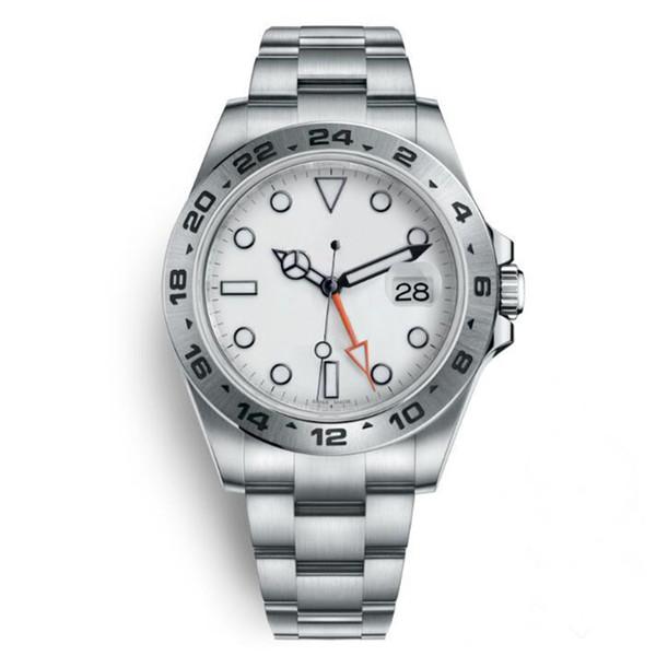 Regarder Explorer II 40 MM cadran blanc automatique en acier inoxydable Montre indépendamment Date 24 Heures réglées individuellement multifonction Man Wristwatch