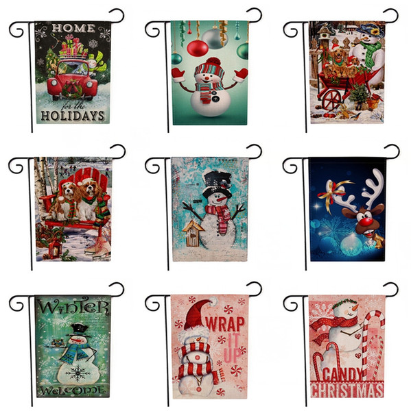 Santa Claus Printing Banners Creative Christmas Theme Pattern Garden Flags Two Sides Snowman Patterns Multi Colors Flag TTA1707