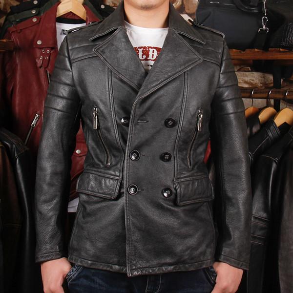 Großhandel Herren Lange Lederjacke Neue Herbst Winter Herren Leder Motorradbekleidung Revers Zweireiher Schlank Windjacke Von Crutchline, $415.13 Auf