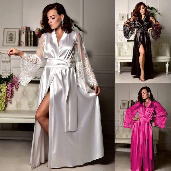 Vestes de seda Para As Mulheres Sexy de Cetim de Renda Longo Vestir Robes Noite Sleepwear Lingerie Feminino Kimono Cinto Night Dress Nightgown