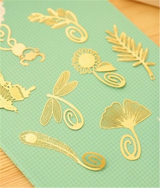 best selling Metal Bookmark Vintage butterfly flowers feather Bookmark Paper Clip for Book Mark Notes 8 Types Available