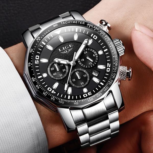2018 Mens Watch Big Dial LIGE Chronograph Top Brand Luxury Fashion Men Waterproof Sport Quartz Watch Erkek Kol Saati