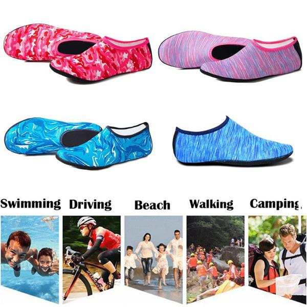 Femmes Hommes Été Yoga Sport Plage Chaussures D'eau Imprimé Camouflage Plongée Sous-marine Plongée Sous-Marine Aqua Chaussettes Natation À Séchage Rapide Pantoufles Aux Pieds Nus